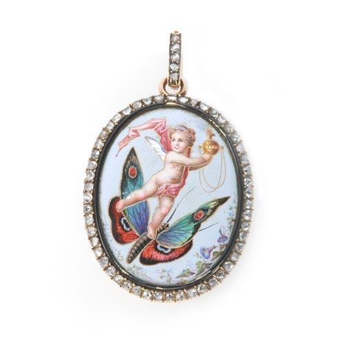 エマイユ 蝶々に乗って踊る天使のブローチ ペンダント