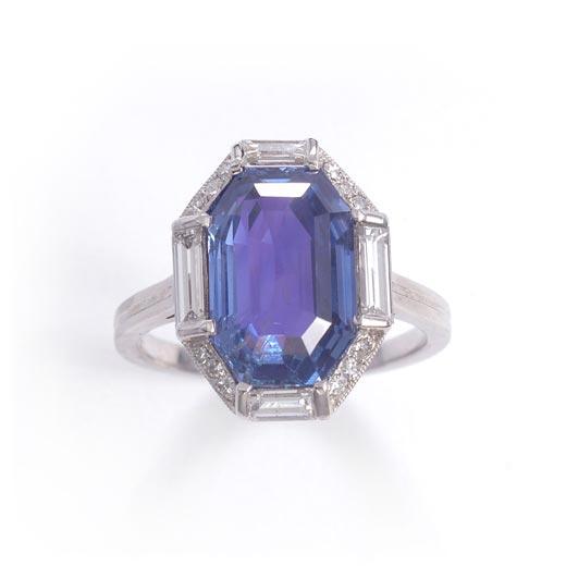 アールデコ サファイヤ ダイヤモンド リング