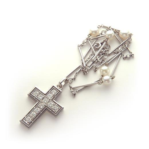 ダイヤモンド プラチナ クロスペンダント ネックレス