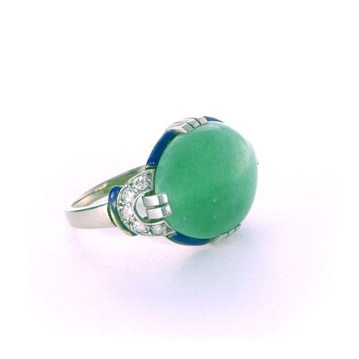 アールデコ 翡翠のリング