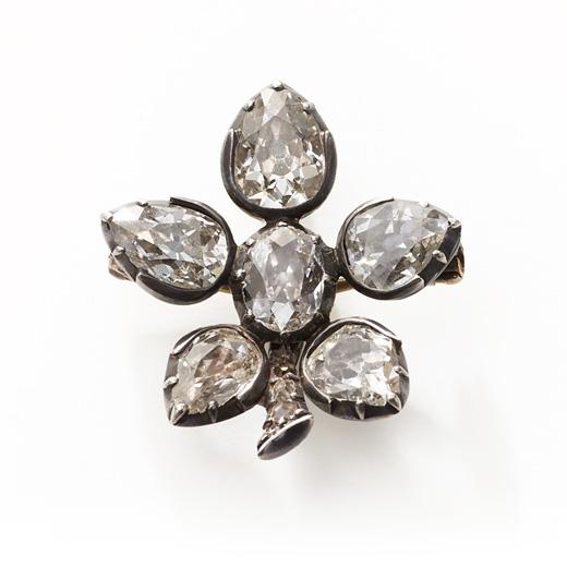 ジョージアン ダイヤモンド お花のブローチ